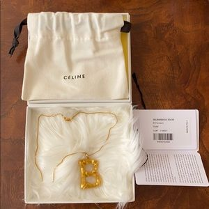 Celine large B alphabet pendant and necklace